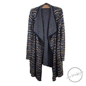 Lucky Brand Scarf Pattern Duster Cardigan Sweater